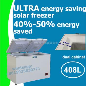 408l Dual Zone Solar Freezer Energy Saving Dc Fridge With 110mm Polyurethane Insulation