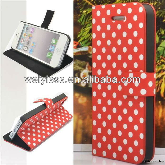 PolkaDot Stand Leather Flip Hard Case Cover For IPhone 5 Red