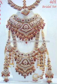 Wholesale Diamond Royal Necklace Set Bridal Jewel Indian Bridal