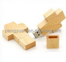 Customized logo bulk Christian cross wood usb , bulk christian gifts usb wood (PY-U-128)