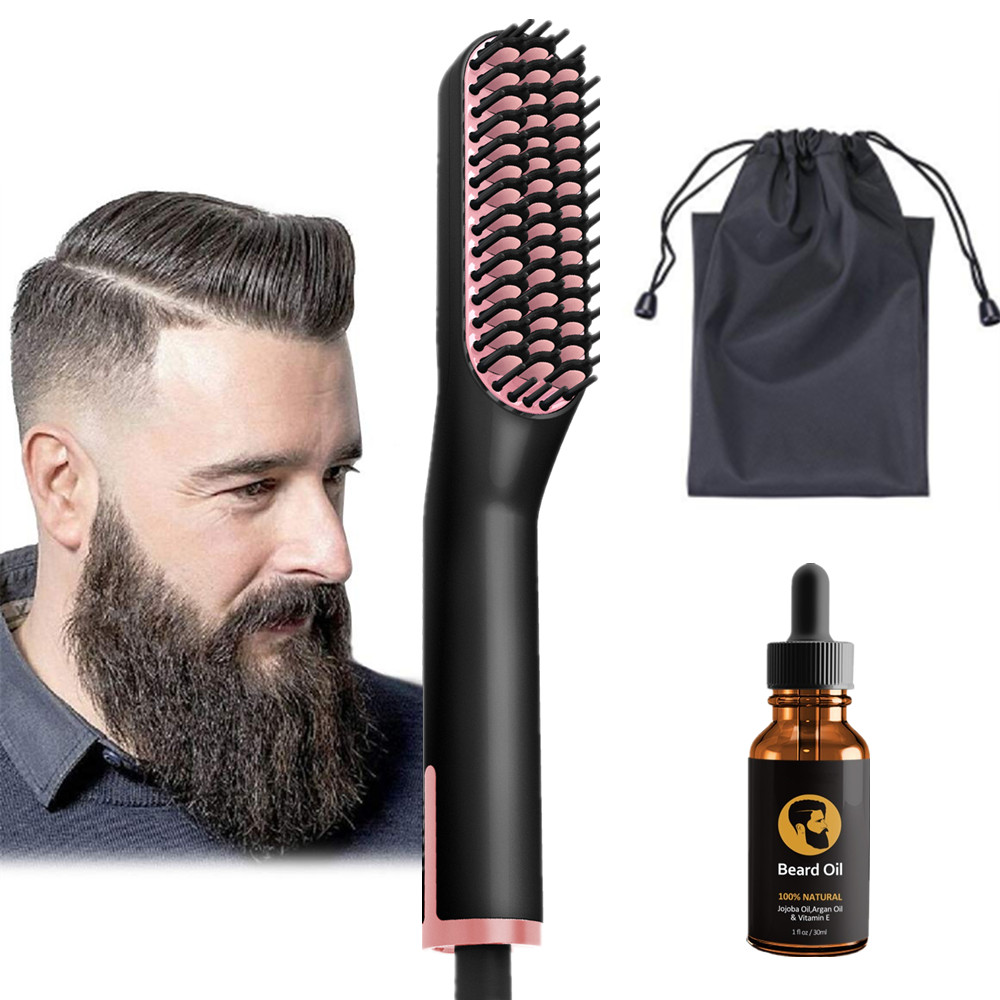 Amazon Dropship Ionic Beard And Hair Straightener Brush 2 In 1 With Beard Growth Oil Quick Hair Styler For Men фото