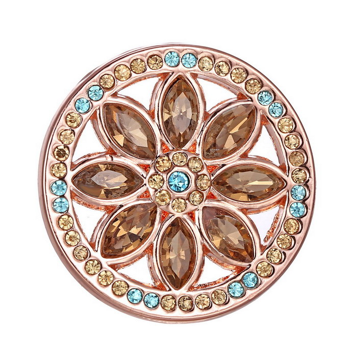 Горячая DIY розового золота 33 мм цветок кристалл мой диск монеты для подвески мой монета 1 шт.