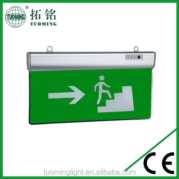 Double sides silk-screen +carven acrylic led emergency escape exit sign