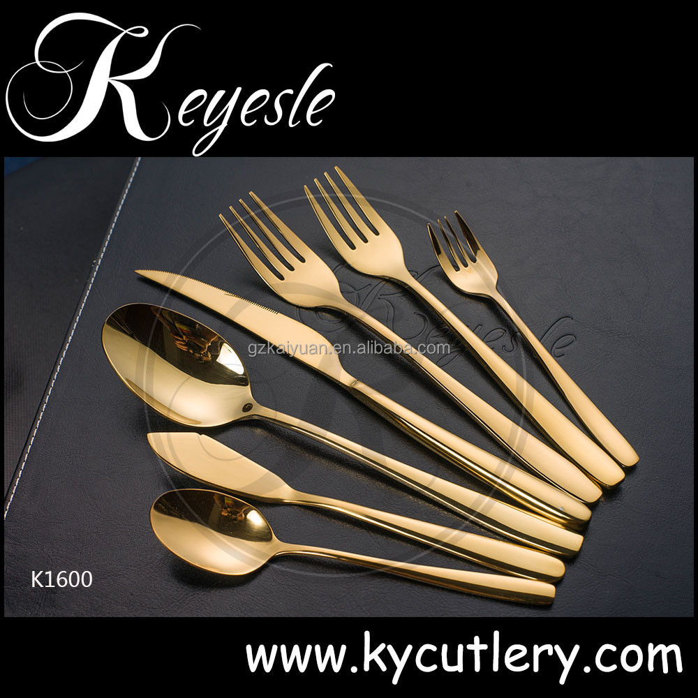 novelty cutlery set, set of knives and forks, cutlery stainless steel gold