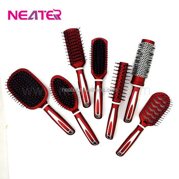 spray painting red color plastic 7pcs detangling hair brush set buy. Black Bedroom Furniture Sets. Home Design Ideas
