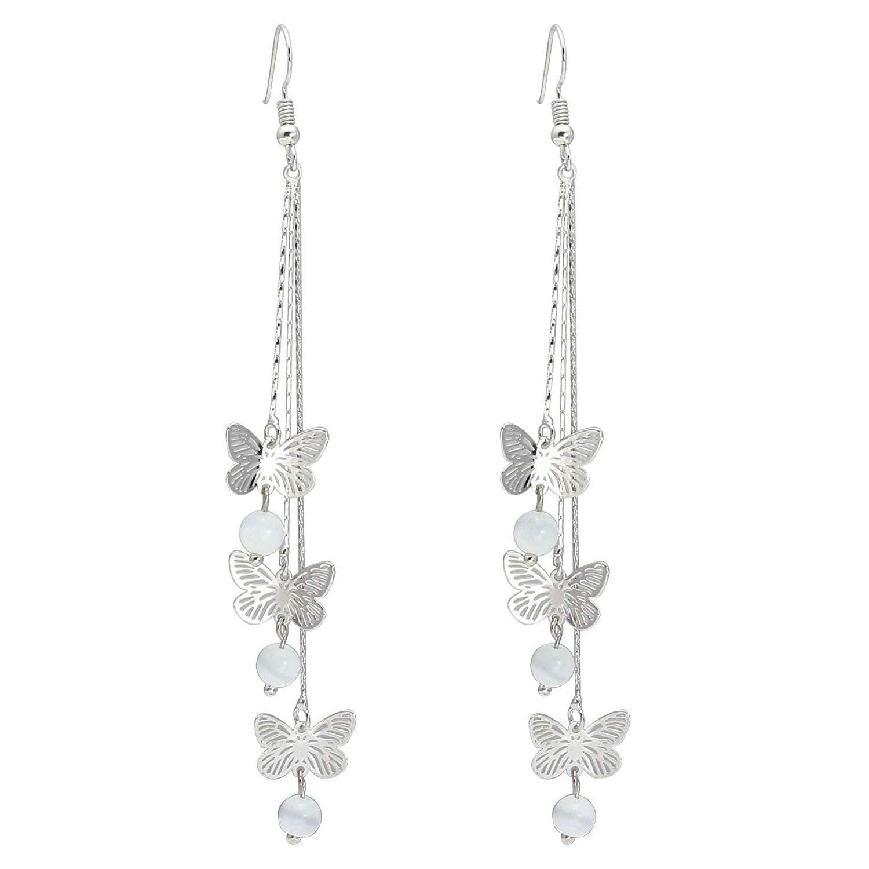 bcdaad4cc Milakoo Gold Silver Color Hollow Butterfly Dangle Earrings - Long Tassels  Drop Earrings for Women