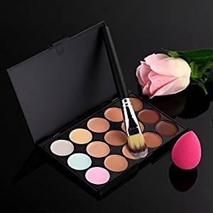 Maxade(TM) 15 Color Concealer Palette Makeup Brush Cute Pink Sponge Puff Makeup Contour Palette Face Concealer