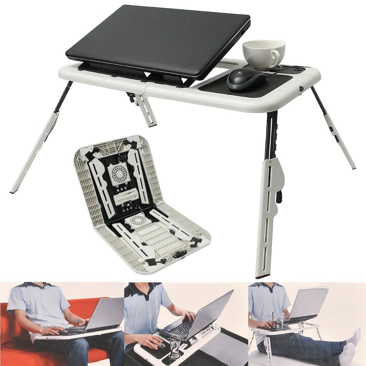 Laptop Desk Caveen 15.4'' Adjustable Laptop Table Notebook Computer Stands Portable Standing Bed Desk,USB Fan Foldable Sofa Breakfast Tray, Notebook Stand Reading Holder for Couch Floor