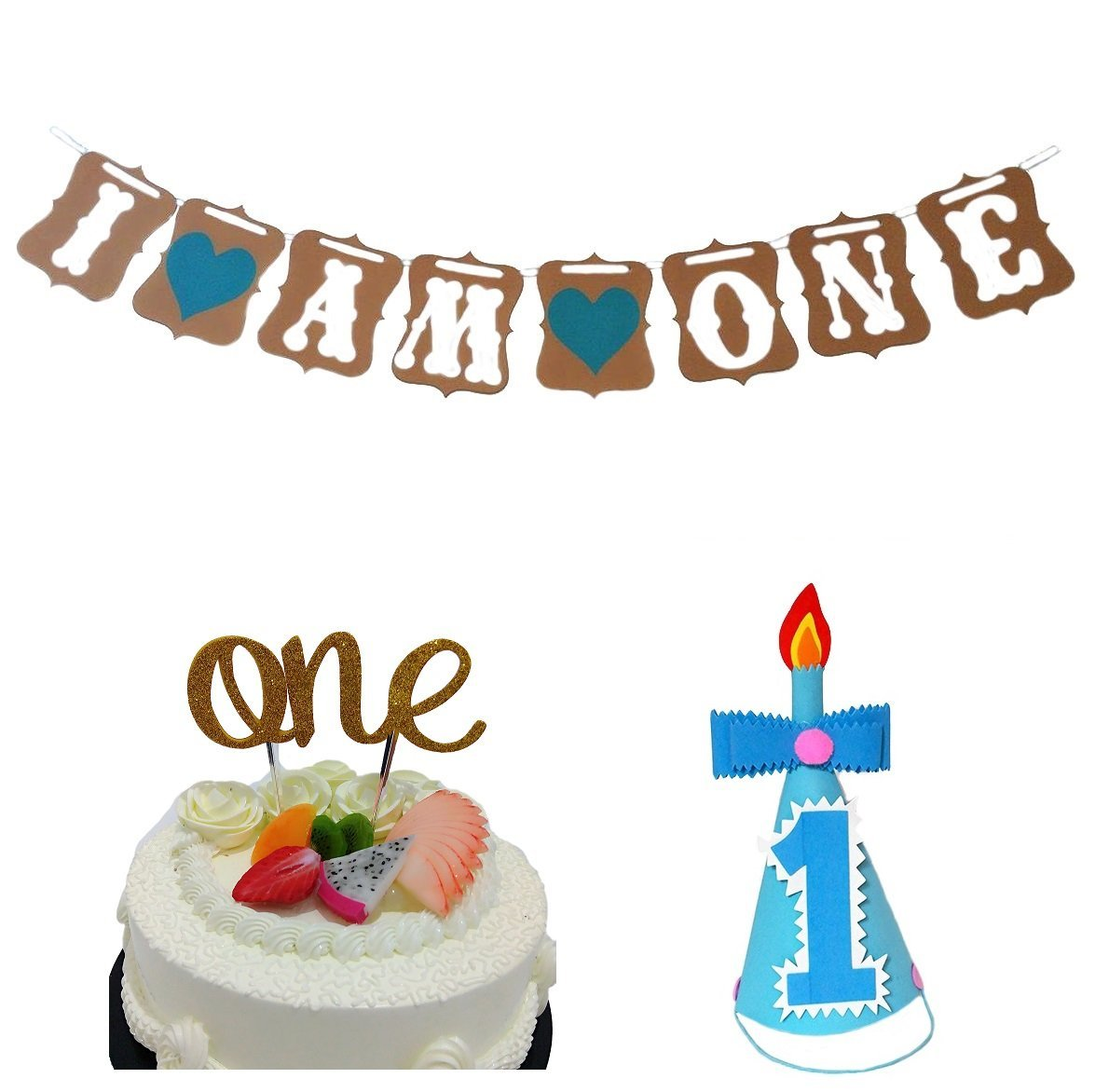 Get Quotations 3 In 1 First Birthday Celebration Kit Lovely Baby Boy Cake Topper