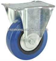 European style industrial caster and wheel, blue rubber wheels with PP rim, rigid