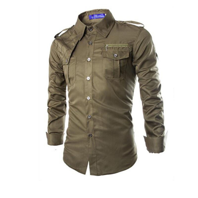 55e327e95 Get Quotations · New Men Dress Shirts 2015 Fashion Men's Shirts Pockets  Plaid Design Fitness Social Casual Shirt Military