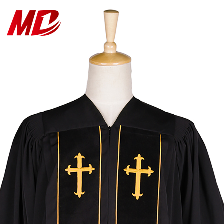 Black polyester choir robe Design Wholesale Clergy Robes contemporary choir robes