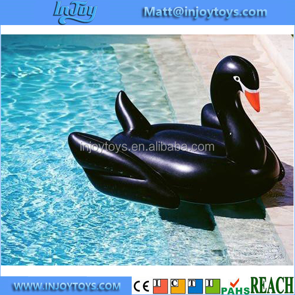 Floating Lounger Inflatable Black Swan Pool Float Ride On Toy