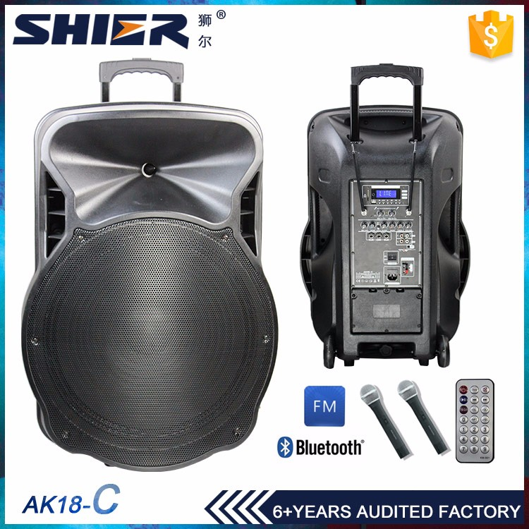 18 Inchs Super Bass Portable Trolley Speaker With Bluetooth For Wedding Or Other Situations