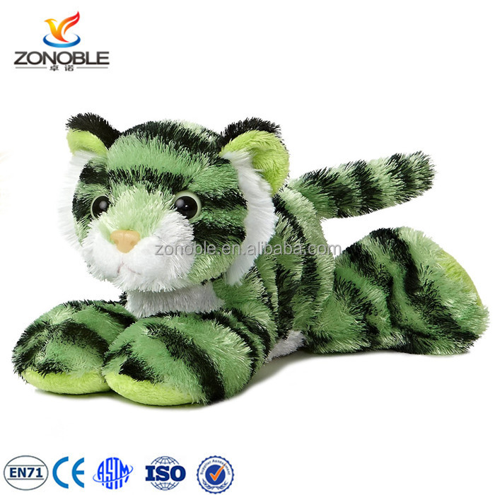 China factory lovely tiger plush toy cute soft tiger toy soft green stuffed toy tiger for kids