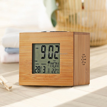 Vintage retro alarm clock radio lcd display desk alarm clock with time week temperature displayer