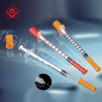 OEM Size Disposable 0.3ml / 0.5ml / 1ml Insulin Syringe With Stainless Steel Needle
