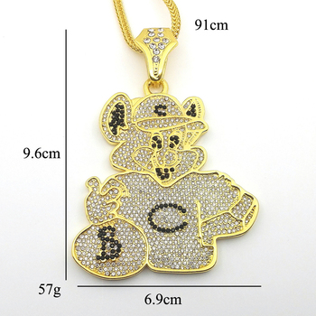 New fashion large size crystal cartoon bear pendant hip hop necklace new fashion large size crystal cartoon bear pendant hip hop necklace jewelry bling bling iced out aloadofball Images
