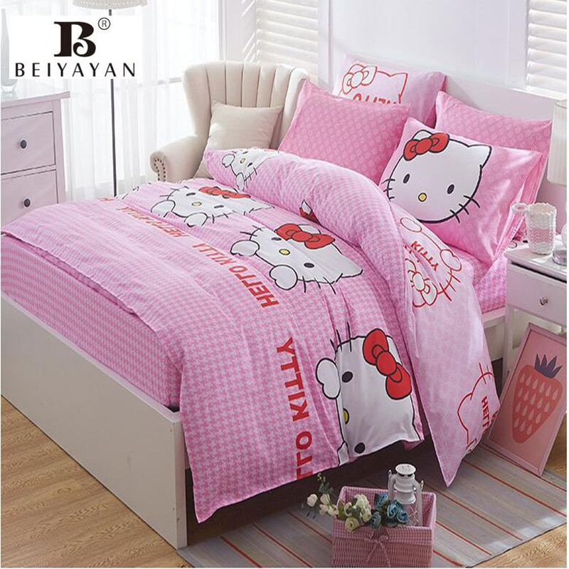 Factory direct sale custom printed duvet cover fitted sheet comforter set pure cotton cartoon bedding set for kids
