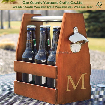 China Gold Manufacturer Cheap Personalized Letter M Letter Alphabet Wooden Craft Beer Carrier With Bottle Opener Buy High Quality Beer Bottle