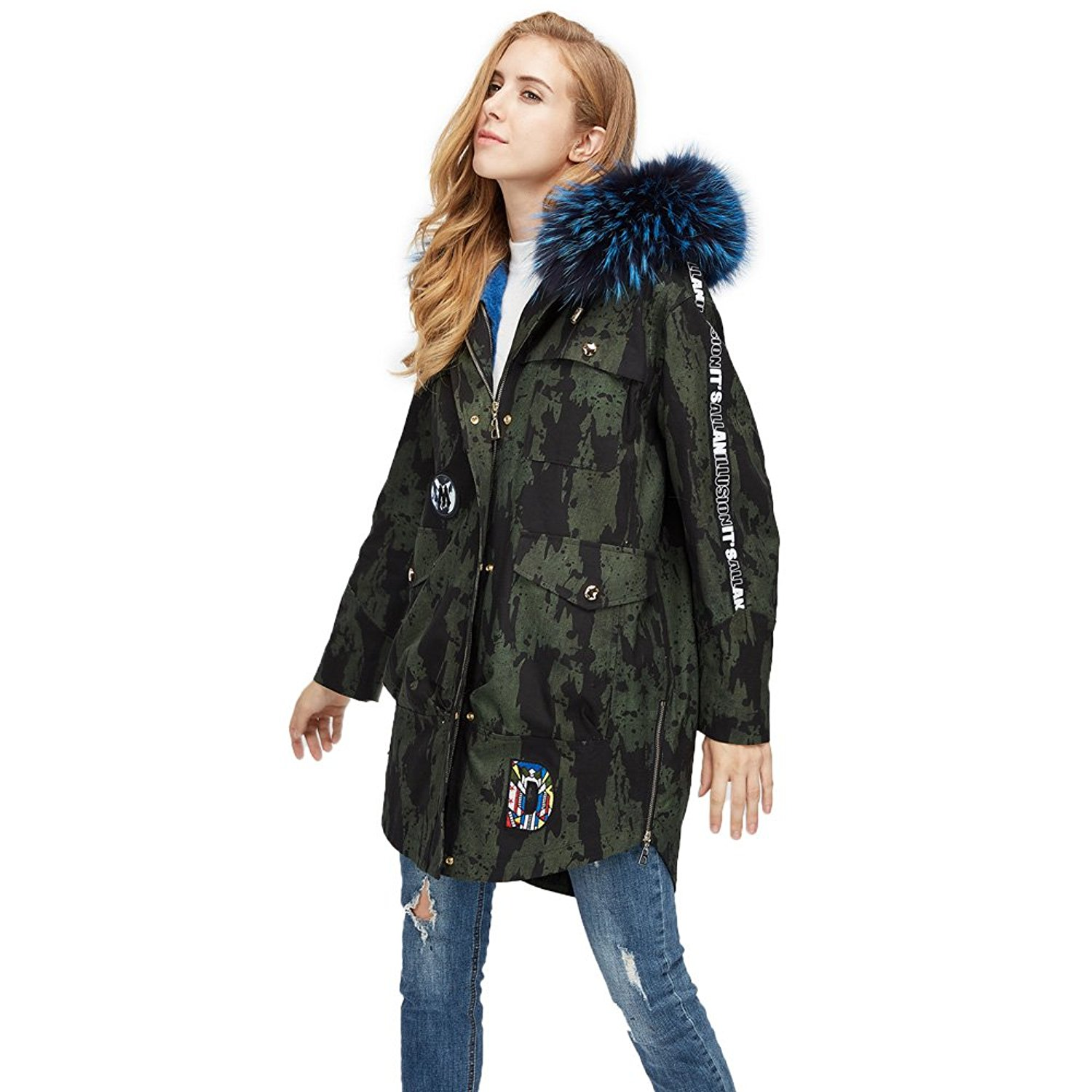 ee3f00e36f922 Get Quotations · MMFur Long Genuine Raccoon Fur Collar Parka Detachable  Rabbit Fur Liner Camouflage Coat with Hood