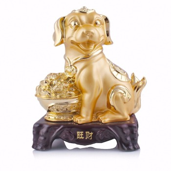 Large Chinese Zodiac Dog Golden Resin Collectible Figurines Table Decor Statue