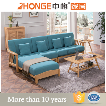 Living Room Furniture Fabric L Shaped Modern Wooden Sofa Set Designs