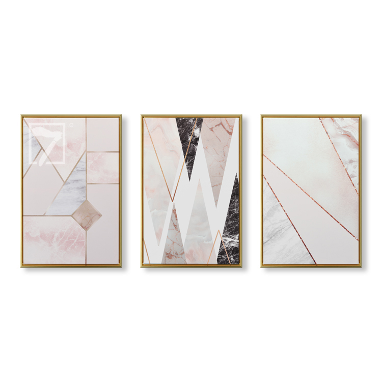 3 Pcs Modern Framed HD Prints Abstract Geometric Canvas Paintings