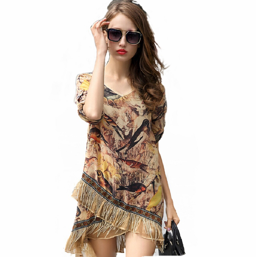 Get Quotations · Chic Lady Women Gypsy Festival Fringe mini Dress summer  style Vestido Advanced Printing short-sleeved ad6cc4d812b0