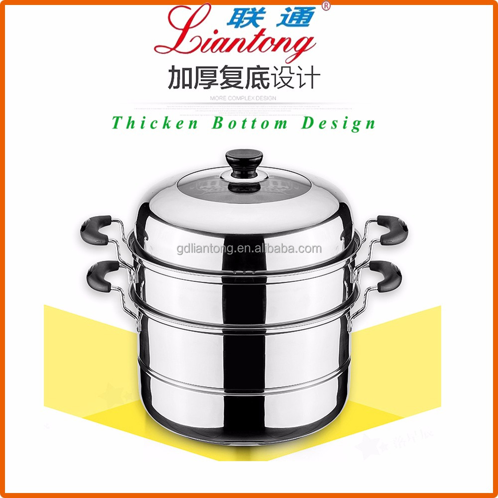 26CM 2layers double bottom stainless steel non stick cookware set, steamer with 2 lattices food steamer