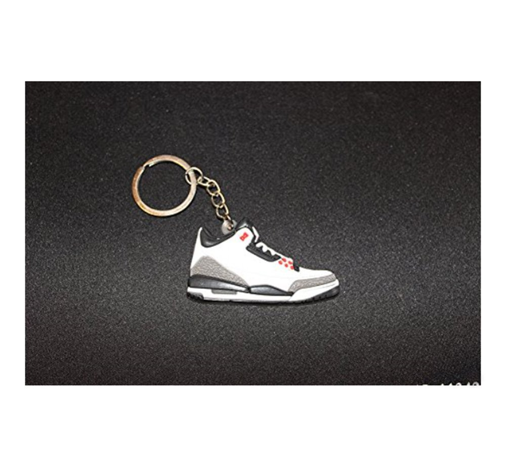 503d803e33a71c Get Quotations · Air Jordan 3 III Infrared White Black Cement 88 Chicago  Bulls Sneakers Shoes Keychain