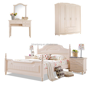 White Double bed 5 pieces Contemporary Youth Wooden Bedroom Furniture Set