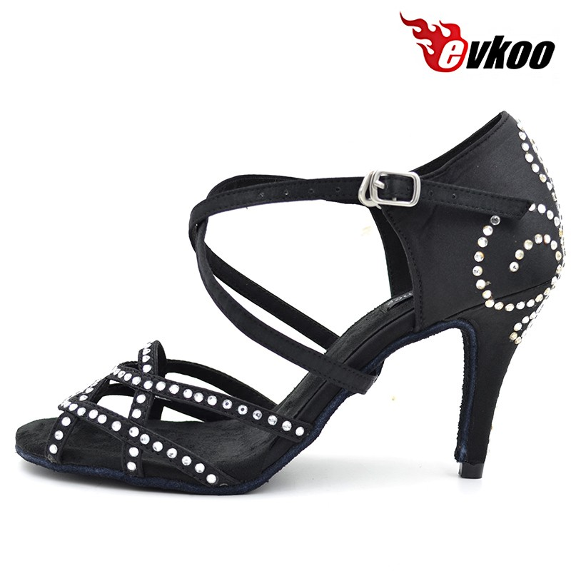 Rhinestone heel fashion popular latin shoes and sasan dance shoes for ladies