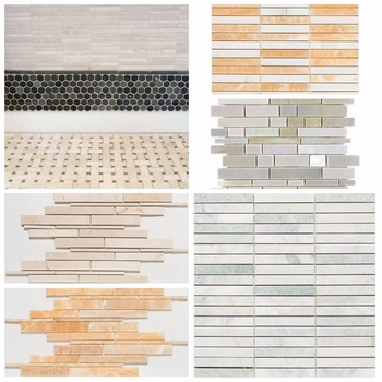 New Design Interlocking Glass Mix Quartz Kitchen Wall Tiles Patterns
