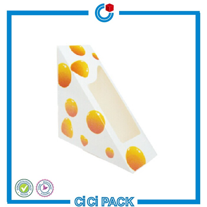 Paperboard cute paper cake packaging boxes for sandwiches wholesale