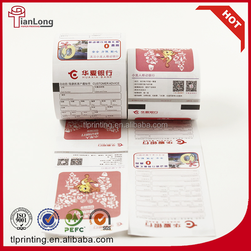 printable ATM thermal paper 5 color bank paper roll