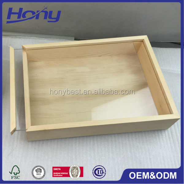 Most Popular Wholesale Pine Wood Display Gift Boxes Sliding Clear Acrylic Lid