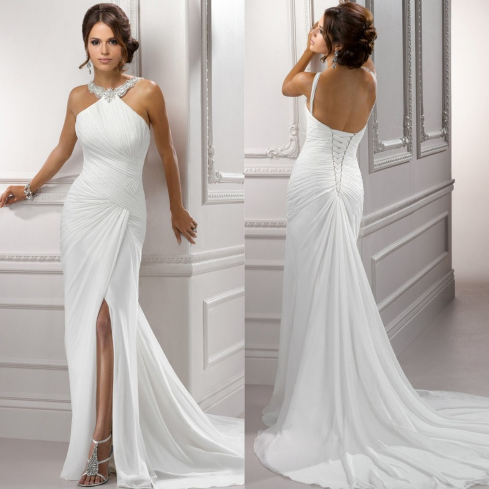 White Chiffon 2015 Front Side Slit Halter Beach Backless ...Backless Halter Wedding Dresses