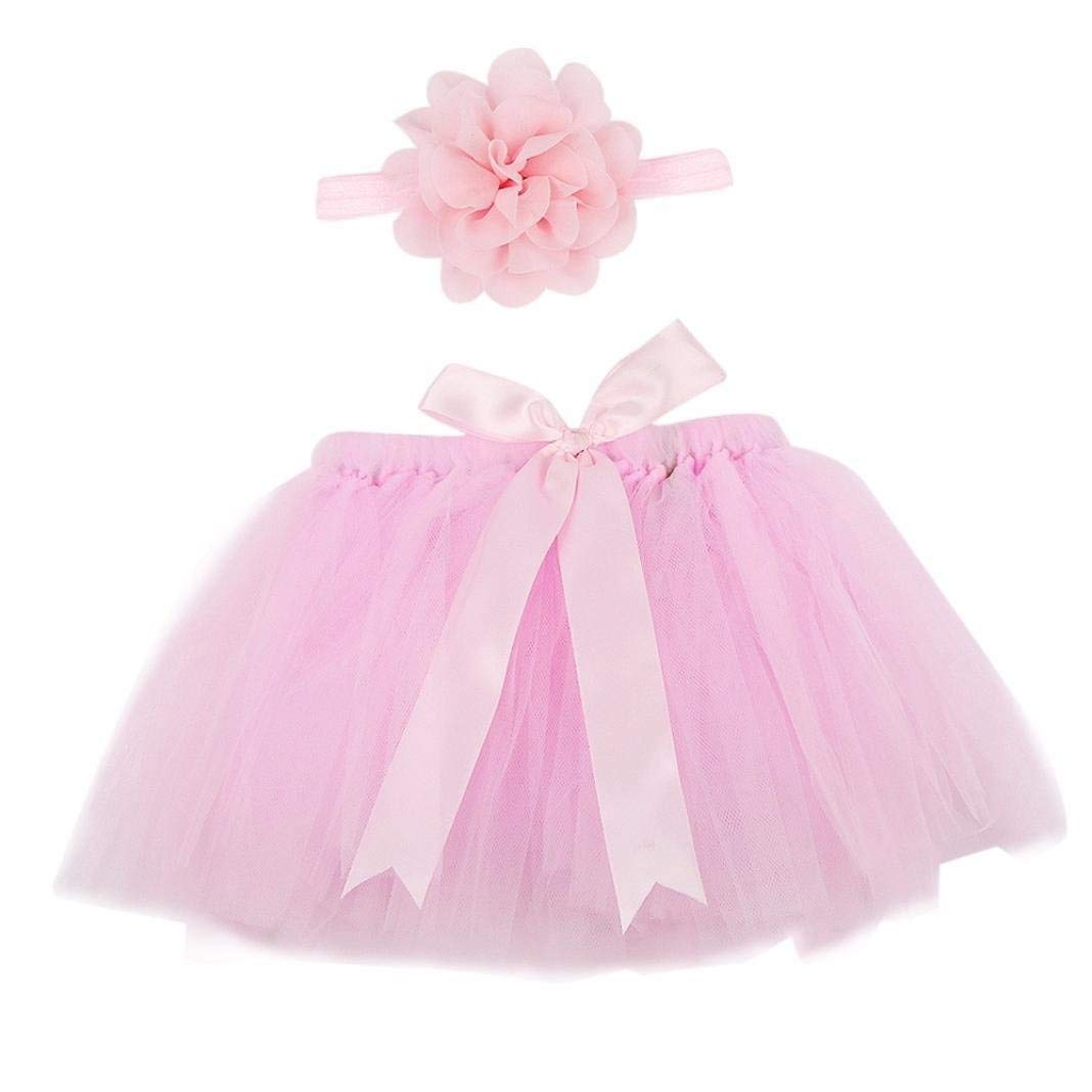 Zhhlinyuan Newborn Cotton Romper Skirt+Headband Girls Long sleeves Bodysuit Set
