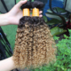 100% Human Hair Extension Ombre Kinky Curly Hair Brazilian Human Hair Sew In Weave