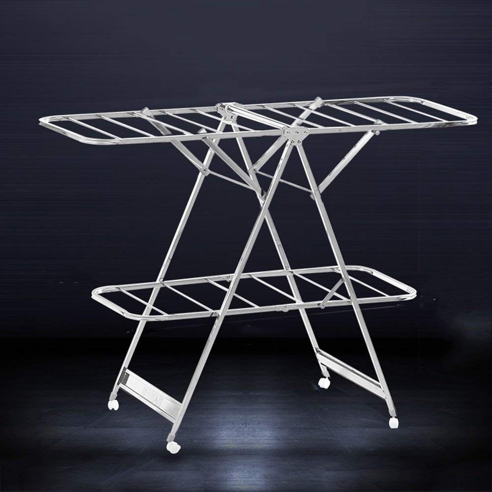 Drying clothes rack Movable folding/airfoil/indoor and outdoor, balcony drying racks, diaper racks, stainless steel (Style : A)