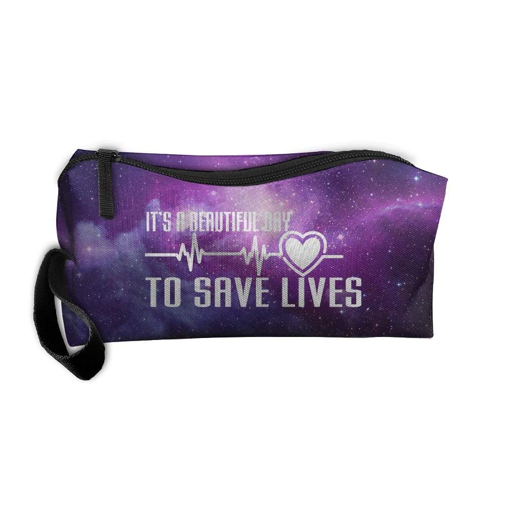 It's A Beautiful Day To Save Lives Beauty Women Cosmetic Bags Portable Travel Toiletry Pouch Makeup Organizer With Zipper