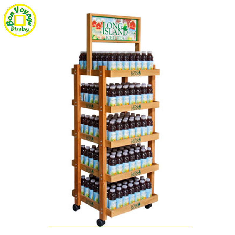 Big volume bottle beverage wooden display stand with wheels