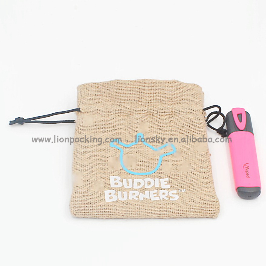 2017 hot free samples jute pen pouch burlap pencil bag