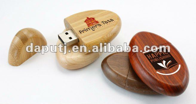 Wooden oval shaped USB Drive in different data capacity available with logo printed on,Cheap and good choice for promotional gif