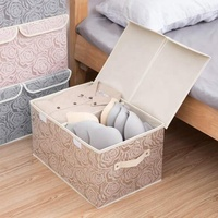 High Quality Large Rose Non Woven Print Foldable Underwear Storage Box with 2 Covers