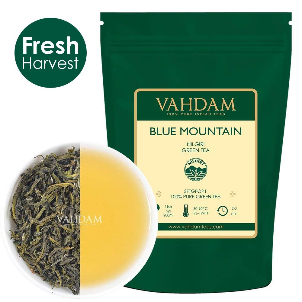 VAHDAM, Blue Mountain Green Tea Loose Leaf (25 Cups) | Pure Green Tea Leaves | Nilgiri Tea | RICH ANTI-OXIDANTS | Natural Detox Tea, Slimming Tea, Weight Loss Tea | Brew as Hot Tea or Iced Tea |1.76oz