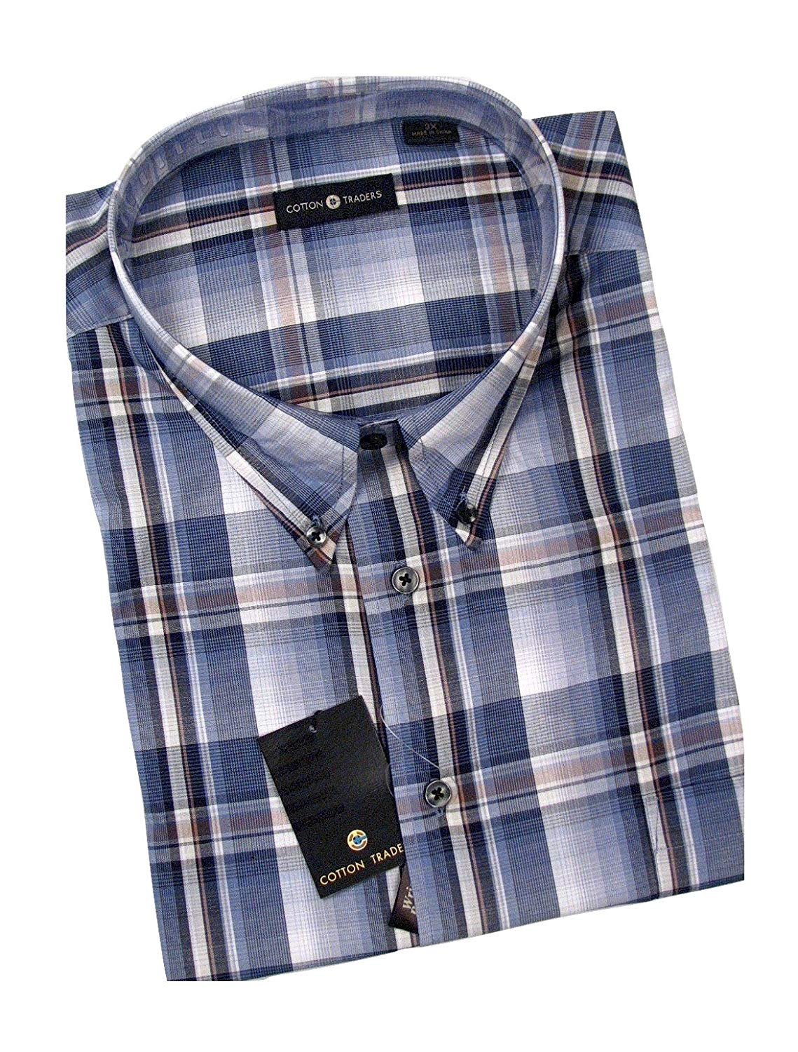 da7d171620c Get Quotations · Cotton Traders Big and Tall Mens Short Sleeve Easy Care Cotton  Shirts