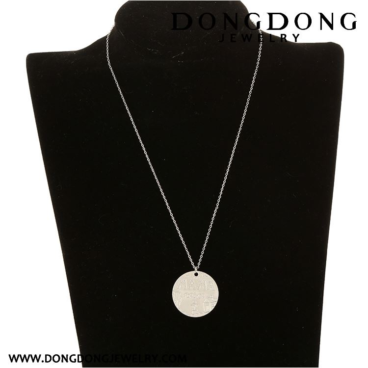 Professional made super quality with fast delivery white ronnd coin shape pendant necklace and jewellery for women