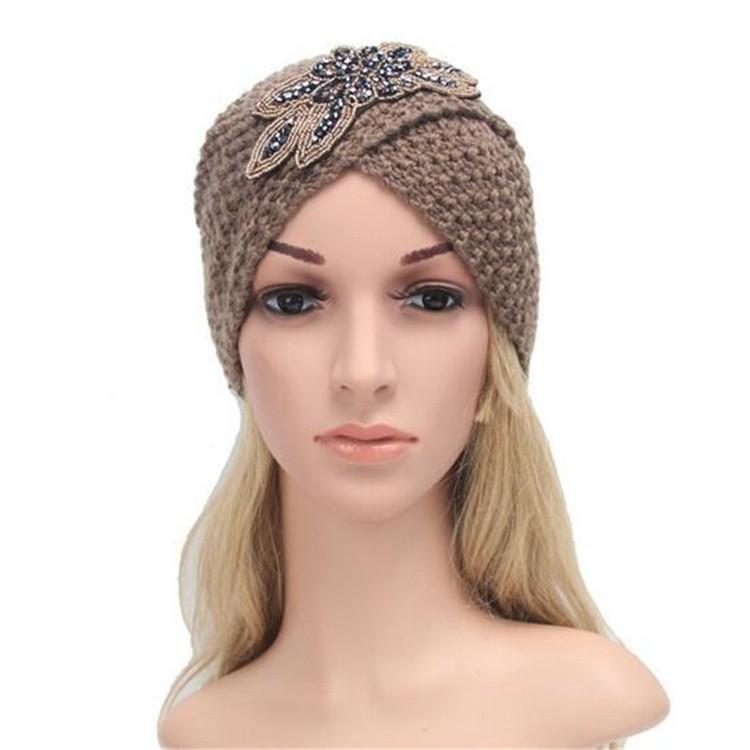 4fc02c38f2d handmade Winter flower rhinestone beads Corn Knit Cap Indian Beanie  Handknit Turban Hats for Women